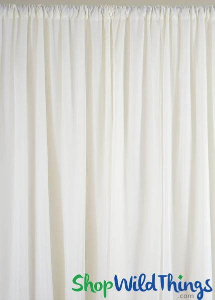 Sheer Draping Panel Ivory 10' Tall x 10' Wide w/ Top & Bottom Rod Pockets Flame Resistant - Ceilings or Backdrops