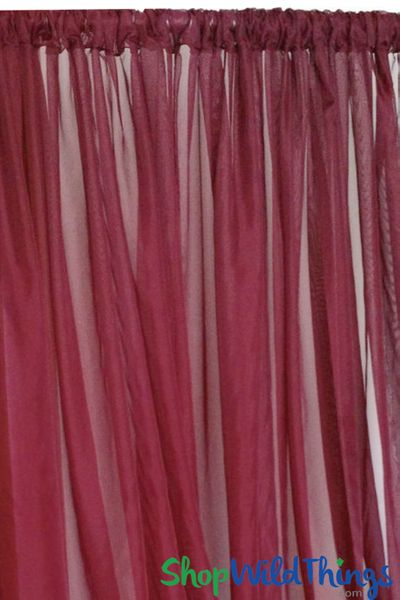 Sheer Draping Panel Burgundy 10' Tall x 10' Wide Top & Bottom Rod Pockets Flame Resistant - Ceilings or Backdrops