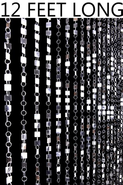 Shimmy Beaded Curtain - Silver - 3 ft x 12 ft