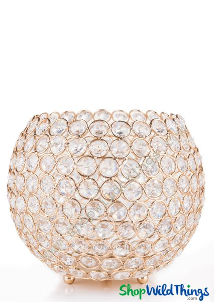 """Candle Holder - Real Beaded Crystal Ball Large - """"Prestige"""" - 9 1/2"""" Gold - BUY MORE, SAVE MORE!"""