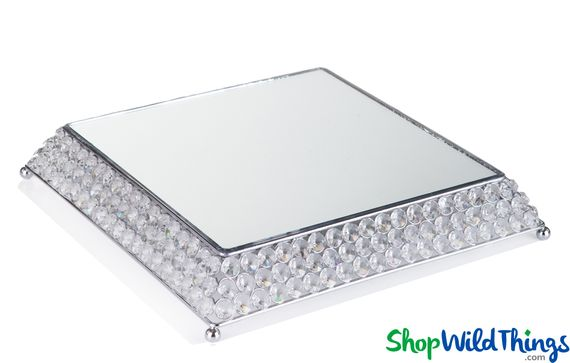 """Beaded Real Crystal Cake Stand / Centerpiece Riser Square with Mirrored Top- """"Prestige"""" - 13"""" Silver"""