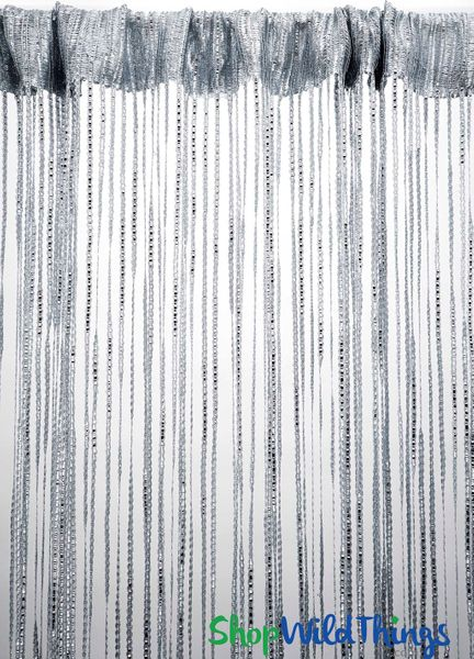 Coming Soon - String Curtains - Sparkle Silver w/Tension Rod - 6.4' Long