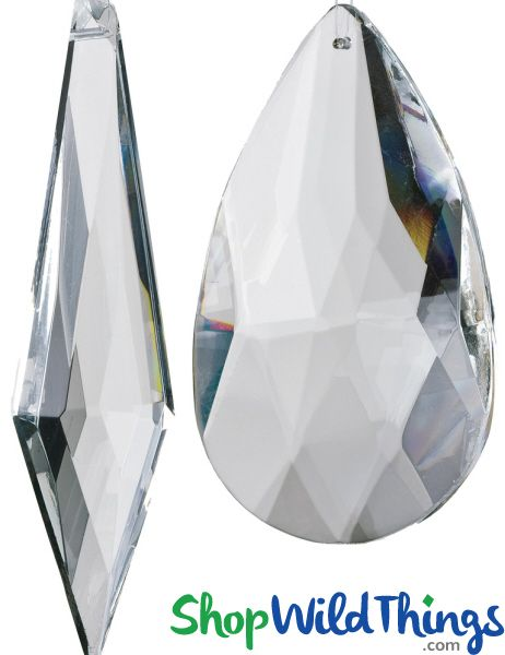 """Real Glass Crystal Ornaments Large - Set of 2 - 3 1/2"""" & 4 1/2"""""""