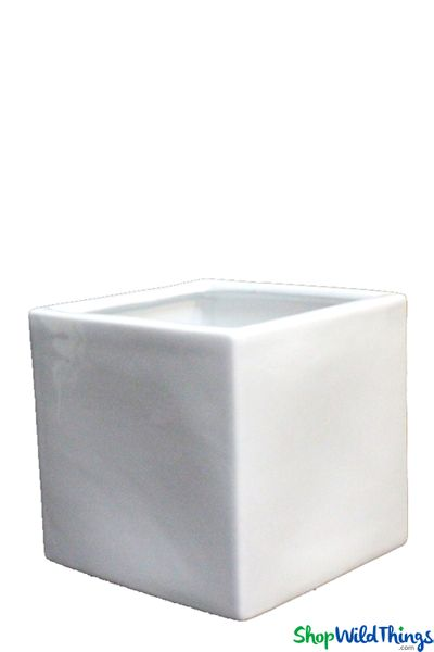 Vase - Ceramic Square - White 5 1/4""