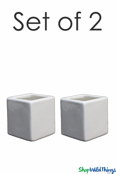 "Vase - Ceramic Square - White 3"" - Set of 2"