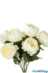 "Silk Cabbage Rose Bush - Ivory Spray - 20"" Tall - BUY MORE, SAVE MORE!"