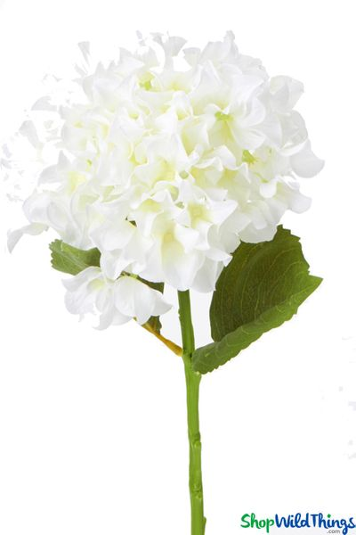 "Silk Hydrangea Bloom - White Spray - 8"" Flower, 27"" Stem"