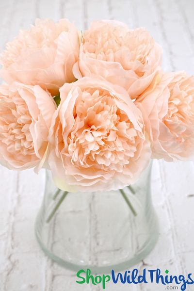 "Silk Peony Bouquet - Soft Pink Spray - 12"" Tall, 5 Heads"