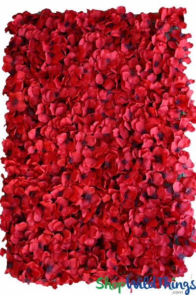 "Flower Wall 17 1/2"" x 24 1/2"" Silk Hydrangeas - Red with Dark Seeds"