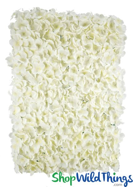 "Flower Wall 18"" X 26"" Premium Silk Hydrangeas - Cream"