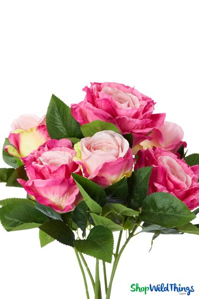 "Silk Rose Bouquet - Fuchsia Pink Spray - 21 1/2"" - 7 Heads - BUY MORE, SAVE MORE!"