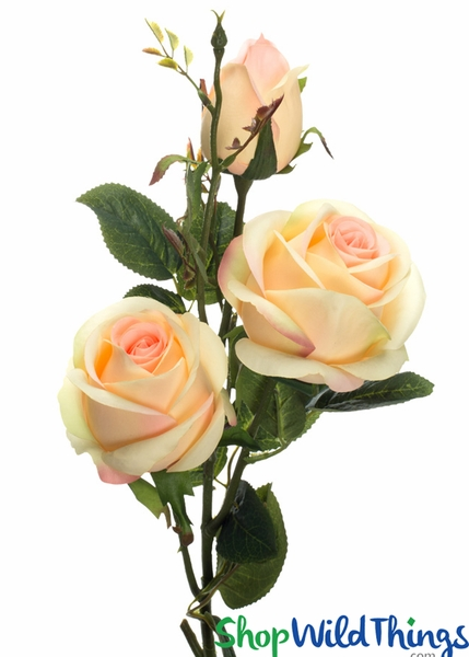 "Silk Roses Spray - 3 Heads - 31"" - Blush Pink / Yellow & Pink - BUY MORE, SAVE MORE!"
