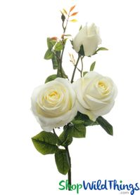 "Silk Roses Spray - 3 Heads - 31"" - Off White - BUY MORE, SAVE MORE!"