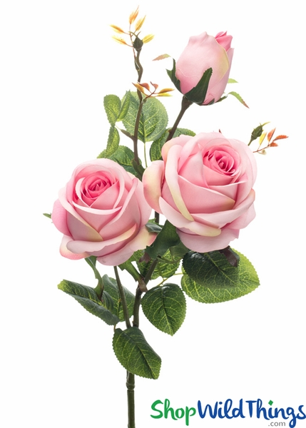 "Silk Roses Spray - 3 Heads - 31"" - Pink - BUY MORE, SAVE MORE!"