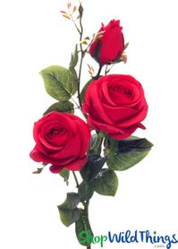 "Silk Roses Spray - 3 Heads - 31"" - Red - BUY MORE, SAVE MORE!"