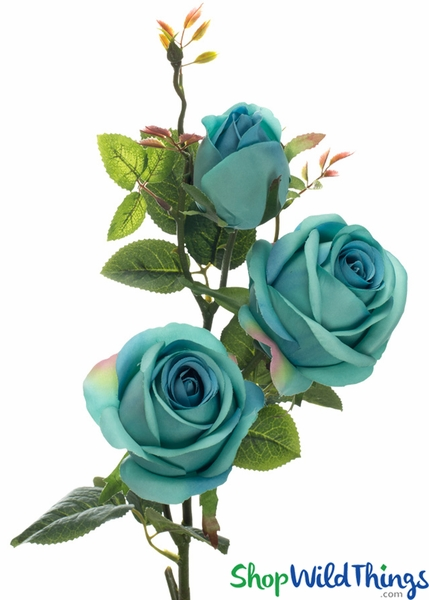 "Silk Roses Spray - 3 Heads - 31"" - Turquoise Blue"