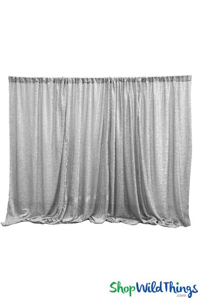 Shiny Lurex & Spandex Event Curtain 10' Tall x 20' Wide - Ceiling Drape or Backdrop - Metallic Silver