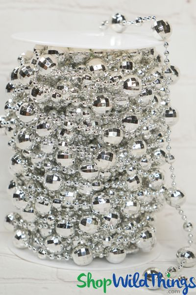 Roll of Beads 20 Yards (60 ft) - Silver Disco Balls