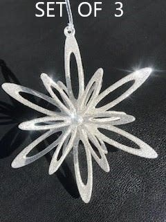 """SALE! Silver Looped 3-D Snowflake Ornaments - Set of 3 - 4 1/2"""""""