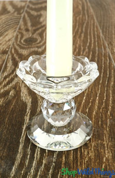 "Real Crystal Prism Candle Holder ""Catania"" - 2 1/2"""