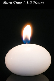 "Floating Candles White 1"" 12pcs - Burn Time 1.5-2 Hours - Unscented. Dripless"