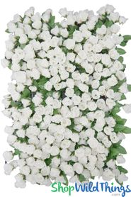 "Flower Wall 17"" x 25"" Lush Premium Silk Small Roses & Greenery - Cream"