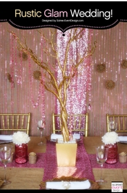 Soiree-Event Design Pink & Gold Party|Gold Manzanita Tree & Pink Diamonds