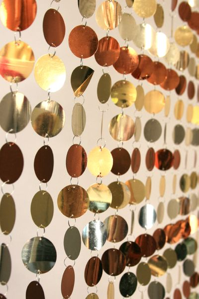 COMING SOON! Spangles Beaded Curtain - Gold, Copper, Platinum Mix - 3 ft x 6 ft