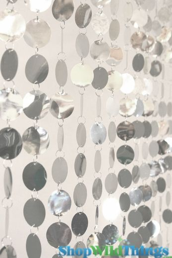 Spangles Beaded Curtain - Silver - 3 ft x 6 ft