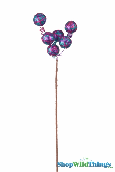 "SALE ! Spray 24"" Long Striped Glitter Balls Purple/Fuchsia/ Turquoise"