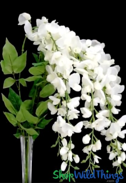 "Coming Soon - Spray - Deluxe Cascading Wisteria 32"" - Off-White Flowers"