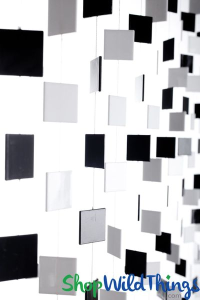 "Squares Beaded Curtain - Black n' White - 35""' x 6'"