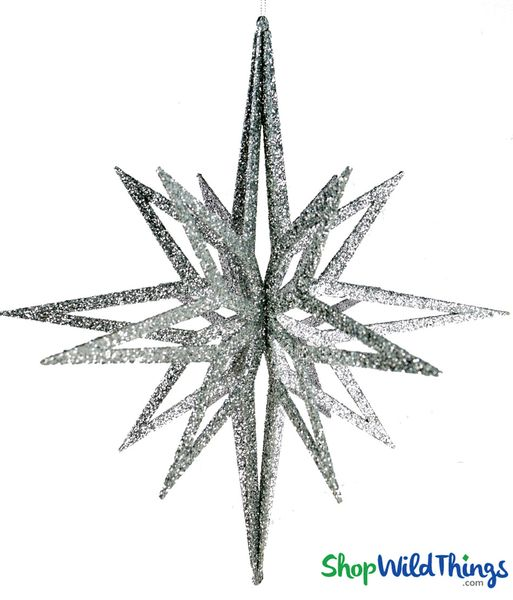 "Star Ornament - Collapsible 3-D Hanging Decoration 16"" x 14"" (8 Points)- Silver Glitter"