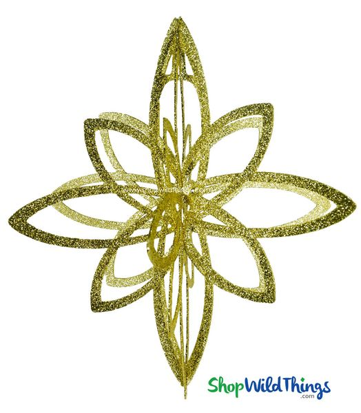 """Star Ornament - Collapsible 3-D Hanging Decoration 24"""" x 21"""" - Gold Glitter"""