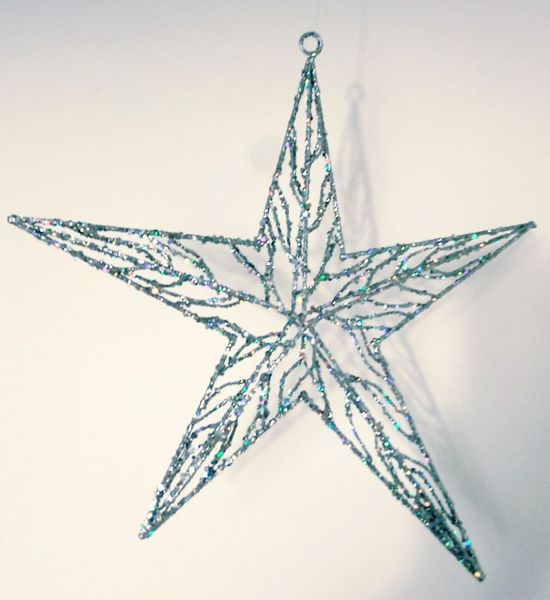 CLEARANCE! 3-D Silver Glitter Star Ornament - 16""