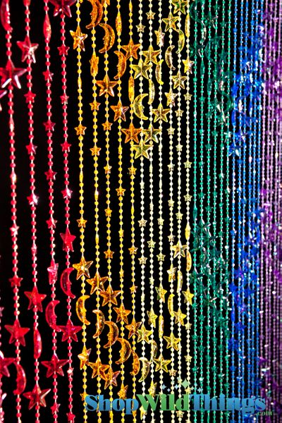 COMING SOON! Stars & Moons Beaded Curtain - Rainbow Iridescent - 3 ft x 6 ft