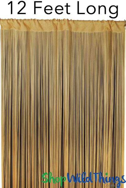 "String Curtain Honey Gold 3 ft x 12 ft - Polyester & Cotton ""Nassau"""