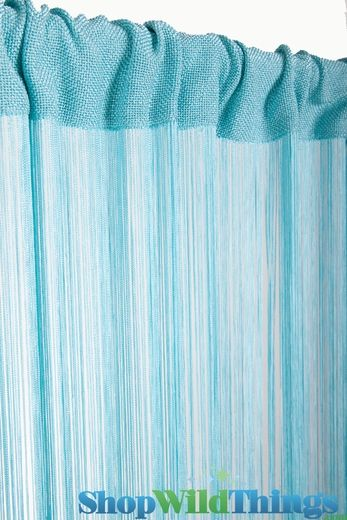 "String Curtain Aqua 36"" x 88"" - Rayon"