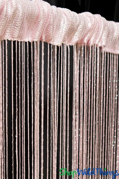 String Curtain - Baby Pink w/Metallic Thread - 3' x 6.5'