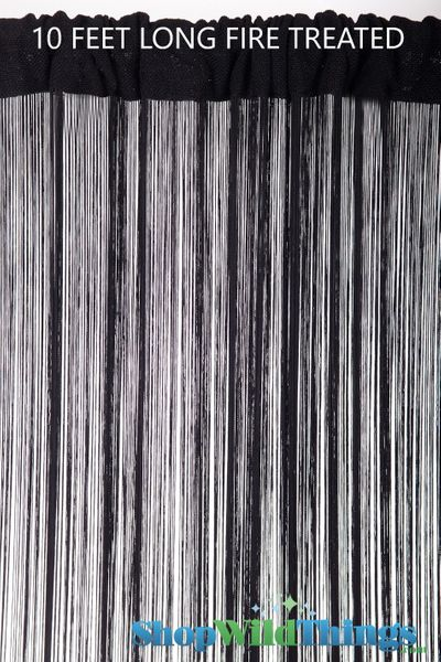 COMING SOON! String Curtain Black 3 ft x 10 ft - Fire Treated - Rayon