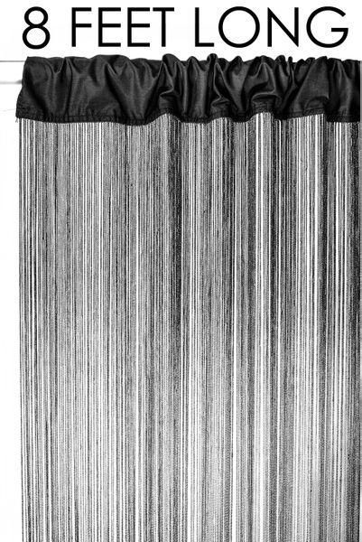"String Curtain Black 3 ft x 8 ft - Polyester & Cotton ""Nassau"""