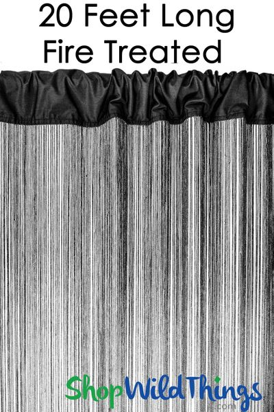 "String Curtain Black 35 1/2 In x 20 Ft - Fire Treated - Polyester & Cotton ""Nassau"""