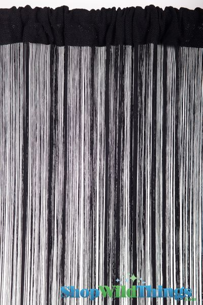 String Curtain Black 3 ft x 7.5 ft - Rayon