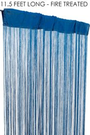 "String Curtain Caribbean Blue 3 Ft x 11 1/2 Ft - Fire Treated - Polyester & Cotton ""Nassau"""