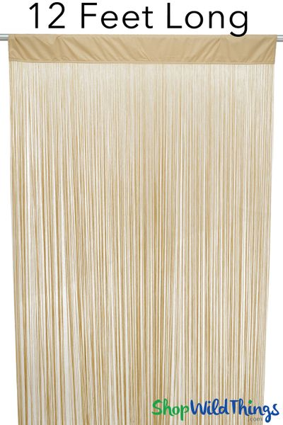 "String Curtain Golden Blonde 3 Ft x 12 Ft - Polyester & Cotton ""Nassau"""