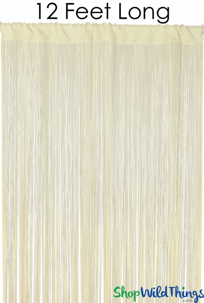 "String Curtain Ivory 3FT x 12FT - Polyester & Cotton ""Nassau"""