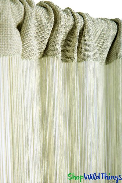 String Curtain Light Celery 3 ft x 7.3 ft - Rayon