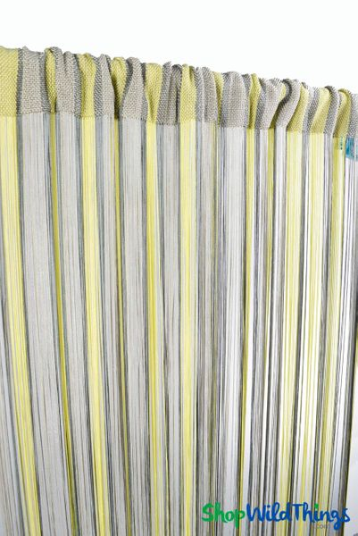 "SALE ! String Curtain Lime and Gray 36"" x 88"" - Rayon"