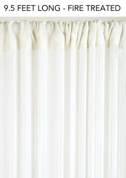 COMING SOON! String Curtain Off-White 3 ft x 9.5 ft - Fire Treated Rayon