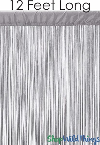 "String Curtain Silver Gray 3 ft x 12 ft - Polyester & Cotton ""Nassau"""